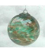 """Hanging Glass Ball 4"""" Diameter Caramel & Teal Green Swirls (1) #22 - $14.85"""