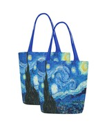 Set of TWO Starry Night Van Gogh Art Canvas Tote Bag Two Sides Printing - $29.99