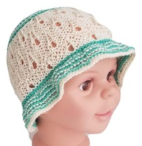 Baby sun hat in bamboo/cotton blend, cream hat with green floppy brim, b... - $15.00