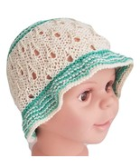 Baby sun hat in bamboo/cotton blend, cream hat with green floppy brim, beach hat - $15.00