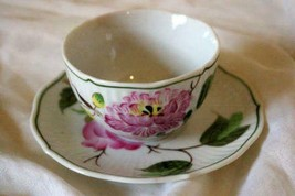 August Warnecke Hybiscus Hand Painted 2 oz Demitasse Cup And Saucer Set - $13.49