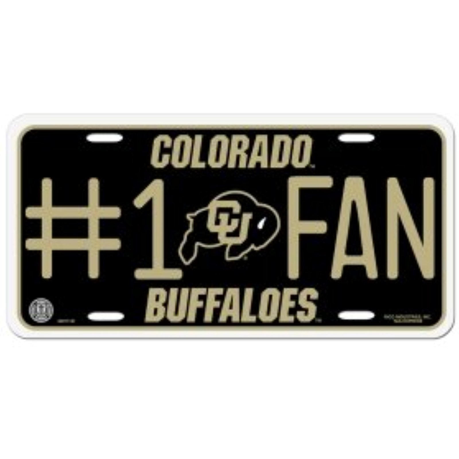 NCAA Colorado Buffaloes #1 Fan Metal Tag License Plate image 1