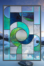 Stained Glass Window Panel Winter Solace Abstract Panel Blue Turquoise G... - $197.00