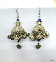 vintage antique tribal old silver earrings indian belly dance jewelry - $193.05