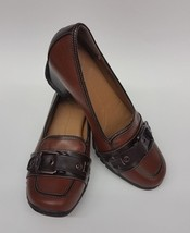 EuroSoft Sofft Womens Shoes Heels Brown Buckle Slip On Wedge Nichelle Size 7 M - $44.51