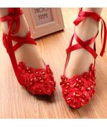 Women Ankle Straps Lace Wedding Shoes flat,ballet shoes bride,womens mar... - £30.95 GBP
