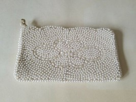 Vintage Bon Soir Italian Beaded Clutch Purse Japan white used - $13.74
