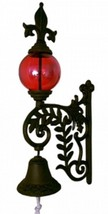 Red Glass Gazing Ball Bell Cast Iron Rust Color Patio Outdoors Porch Scr... - $44.50