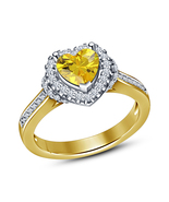 Yellow Gold Plated Heart Shape Yellow Sapphire Beautifully Designer Ring - $52.38