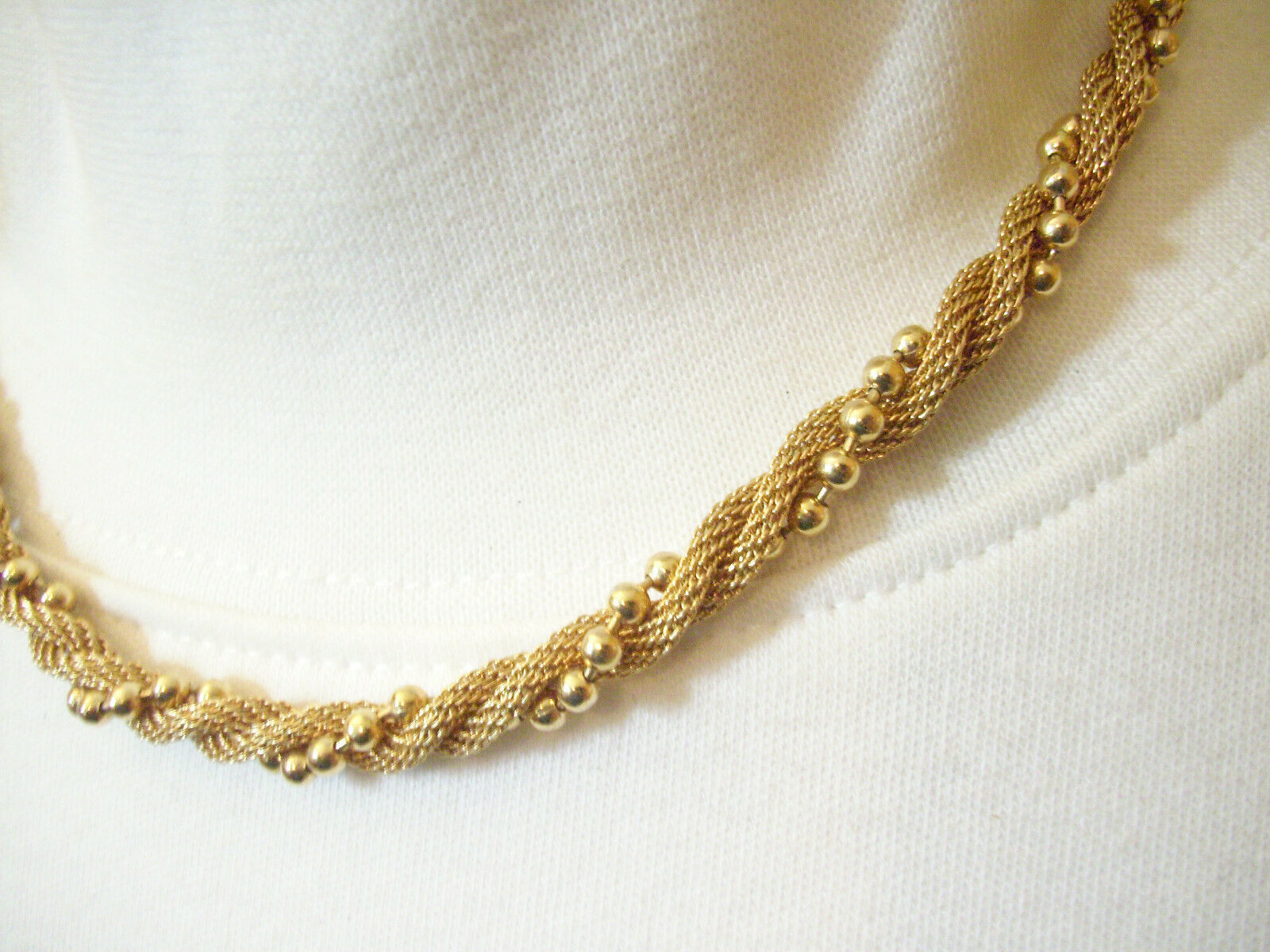 Primary image for Avon Gold Plate Mesh Twist Ball Chain Choker Necklace Elegant Classic