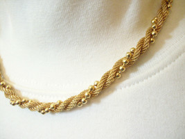 Avon Gold Plate Mesh Twist Ball Chain Choker Necklace Elegant Classic - $13.81