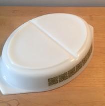 Vintage 60s Pyrex 1.5qt milk glass divided dish with square flower design image 5