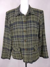 Sag Harbor Women's Jacket Size 12P Gray Plaid Lined Career - $7.85