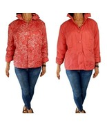 CHICOS sz 3 XL Pauley Terracotta orange crinkle reversible quilted jacke... - $18.81