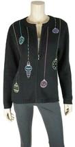 CROFT & BARROW Black Long Sleeve UGLY CHRISTMAS Cardigan Sweater Small - $19.19