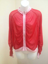 Fredericks of Hollywood M/L Top Red Mesh Sheer Sexy Shirt Jacket - $17.62