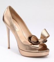 $795 NIB VALENTINO GARAVANI COUTURE BOW PUMPS IN GOLD ROSE 40 US 10 - $355.00