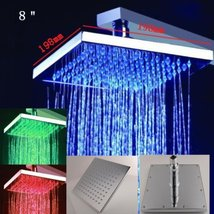 Cascada 8 Inch Wall Mount Square Multi Color LED Rain Shower Head, Brushed Nicke - $267.25