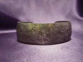 Kirk Stieff Pewter Floral Cuff Bracelet Chrysanthemum 900-11 Designer Si... - $24.75