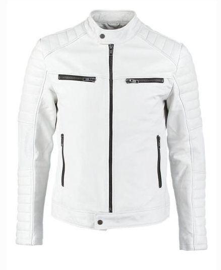 Man White biker jacket, Mens leather jacket, White Leather ...