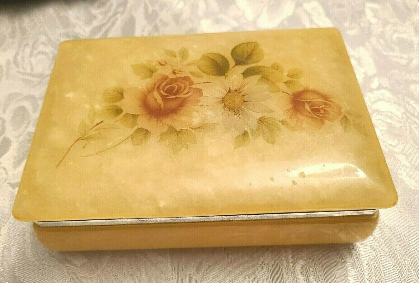 Vintage Himark Giftware Hinged Floral Design Genuine Alabaster Trinket Box Italy