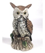 "Porcelain Bisque 6-1/2"" Tall HOMCO  Owl Sitting on Branch Figurine 3130 ... - $9.79"