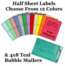 4x8 Teal Poly Bubble Mailers +  8.5x5.5 Half Sheet Self Adhesive Shippin... - $2.99+