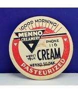 Milk Bottle cap vintage dairy farm advertising label Menno good morning ... - $12.55