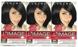 3 Clairol L'IMAGE Ultimate Color  880 Soft Black 3X More Conditioner Grey Cover - $29.69