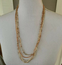 "Vintage Seed Bead Necklace 5 Strand Pink Coral Silver White 25"" - $10.88"