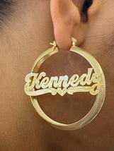 "14k gold overlay personalized Hoop Earrings 2 ""  /#c5 - $49.99"