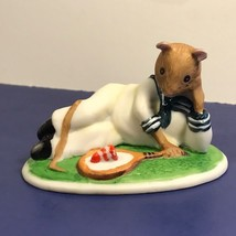 Franklin Mint Woodhouse Mouse Figurine Porcelain Mice 1985 Harold Tennis Cake - $19.75