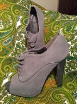 ANN TAYLOR LOFT WOMEN'S GRAY SUEDE PATENT HEEL PEEP TOE LACE-UP BOOTIES ... - $39.59