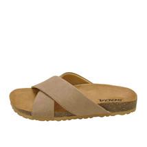 Soda MIDGE-S Light Taupe Women's Faux Suede Criss Cross Slip On Sandals - $28.95+