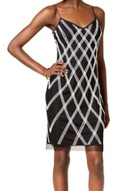 Adrianna Papell Women's Petite Beaded Slip Sheath Dress Black Ivory $199... - $42.56