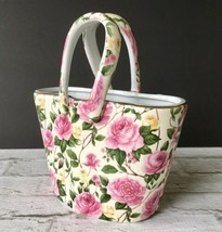 Vase Pink Rose Ceramic Floral Chintz Bag Handles Gold Trim 2003 Special ... - $14.84