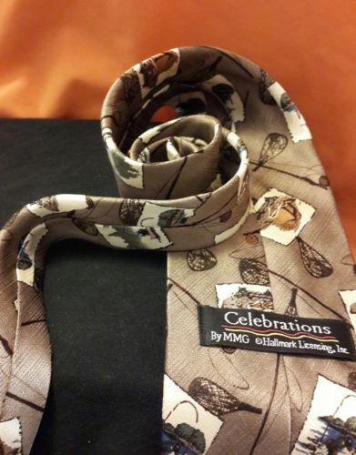 Hallmark Celebrations Fly Fishing Themed Silk Tie Wide Vintage Gold