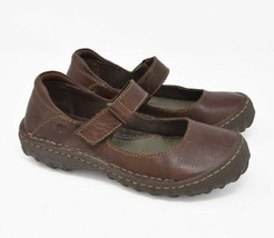 Born Women's Sz 6M EU 36.5 Brown Leather Slip On Strap Mary Jane Flats - $24.95