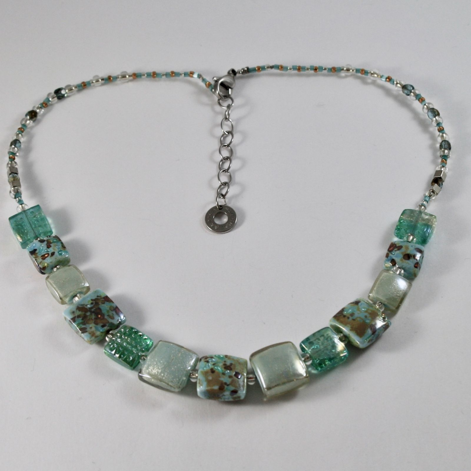 NECKLACE ANTICA MURRINA VENEZIA MURANO GLASS, SQUARES GREEN GRAY ADJUSTABLE
