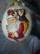 Vaillancourt Jingle Balls Santa with Bear Glass Christmas Ornament Or16502 image 1