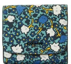 COACH Wallet NWT Yankee Floral Print Tri-Fold Teal Blue Floral 57837 Gun... - $59.39