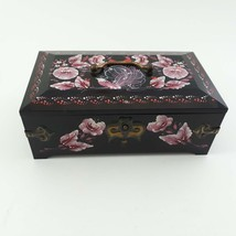 USSR Black Plastic Musical Jewelry Box with Pink Hand painted Floral Motif  image 1