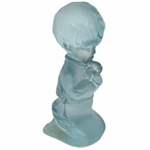 Fenton art glass figurine sculpture opalescent blue Praying child Christ... - $29.65
