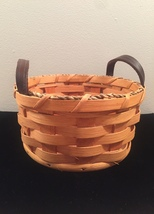 Eli Hershberger Amish woven basket with leather handles