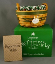 1999 Longaberger Peppermint Basket Green Tree Trimming Holly Liner Prote... - $29.99
