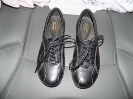 Clarks Ashland Pearl Oxford Black Leather Lace Up Size 5M Women's EUC 26102773 - $44.00
