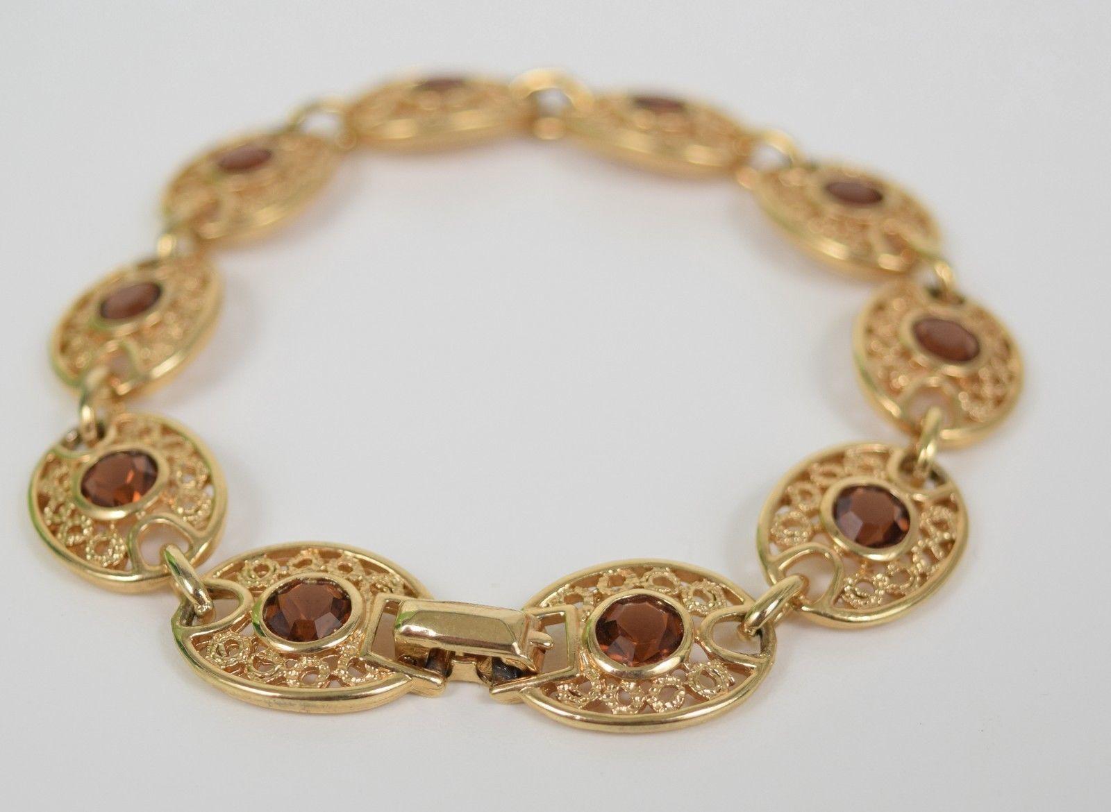 Emmons Amber Orange Rhinestone Gold Tone Bracelet - $19.80