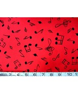 1/2 yd music/notes/treble clef on red quilt fabric - free shipping - $11.99