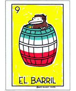 """Loteria Ape #9 """"El Barril"""", Hand-Colored ACEO Card Print by Walter Moore - $7.48"""
