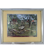 Lionel Barrymore SHORESIDE FARM Silver Foil Print in Frame Matted Colored - $45.00